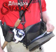 Модульная поясная сумка Stakan Движуха Олива с органайзером для приманок и съёмным держателем удилища.